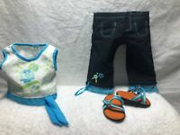 AMERICAN GIRL TODAY WEEKEND FUN OUTFIT SHIRT CAPRIS SANDALS 2004 RETIRED.