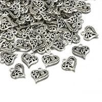 30pcs Antique Tibetan Silver Alloy Hollow Heart Charms Pendants Findings Crafts~