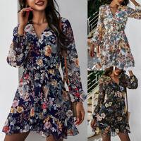 ️ Women's Floral Wrap V Neck Swing Dress Long Sleeve Ruffle Frill Mini Sundress