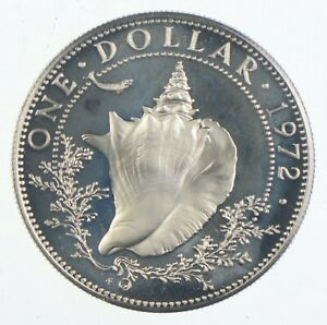 Roughly Size of Quarter 1972 Bahama Islands 1 Dollar World Silver Coin *384