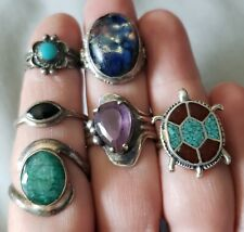 6 VINTAGE NATIVE SOUTHWEST STERLING SILVER RING LOT TURQUOISE 1 Bell Trading