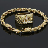14k Gold Plated Rope Bracelet & Allah Shield Cz Round Hip Hop Style Pinky Ring