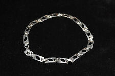 """NWT Sterling Silver 925 Rectangle Cut Out Link Bracelet 7.6 Grams 8"""" L x 1/4"""" W"""