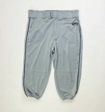Rawlings Premium Knee High Knickers Piped Baseball Pant Men's Large Gray Navy