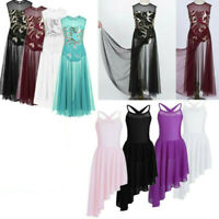 Girls Kids Lyrical Dress Dancewear Costume Floral Sequins Ballet Gym Leotards