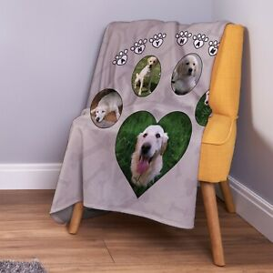 Personalised Neutral Paw & Bones Dog Photo Fleece Throw Blanket