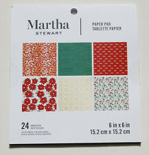 "New! Martha Stewart Red Green Holiday Themed 6"" x 6"" Paper Pad of Crafting Paper"