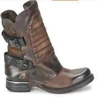 Biker Womens Vintage Retro Motorcycle Western Mid-Calf Boot Leather Buckle SHoes
