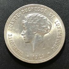 Luxembourg 1929 10 Francs Silver Coin: Charlotte