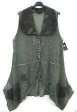 SARAH SANTOS Herbst lange Weste Überwurf Tunika Tunic XL 48 50 Lagenlok Wolle **