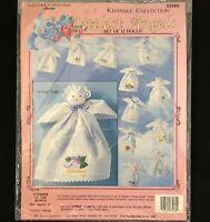 Vtg Bucilla Littlest Angels Flowers of the Month 12 Dolls 33260 Embroidery Kit