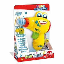 Baby Clementoni Toy Drill Rattle With Light Sound & Music NEW 10-36 Months