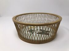 Vintage Asian Wood Tray Basket Hand Painted Double Glass Bottom Butterflies Vtg