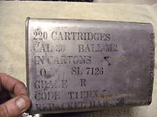 US WW2 Tin 220 rd M2 .30 cal EMPTY ! Ammo Can , 1942