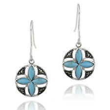 925 Silver Turquoise & Marcasite Flower Dangle Earrings