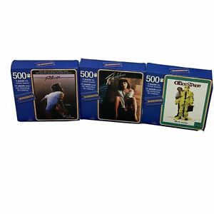 "Lot Of 3 ""Blockbuster"" 500 Piece Puzzles Movie Footloose Office Space Flashdance"