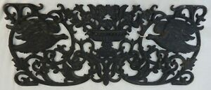 Antique Cast Iron Window Grate Compotes, Flowers, Birds Detailed Scroll Work