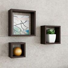 Set of 3 Floating Wall Shelves Hanging Hardware Elegant Home Decor Dark Brown