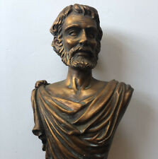 Plaster Bust Of Bearded Greek Or Roman 10� Tall Bronze Color