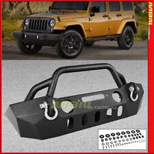 Full Width Steel Front Bumper Jeep Wrangler JK 07-17 Winch Plate D-Rings Combo