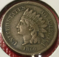 1860 Indian Head Cent, XF Detail, Very Scarce And RARE