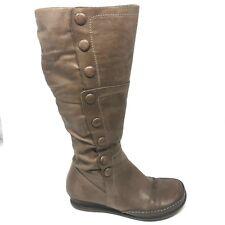 Miz Mooz Paz Boot Khaki Tan Leather Knee High Button Side Zip Womens Shoe SIZE 8