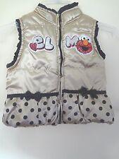 Sesame Street Girl's Elmo Puffy Gold Vest Ruffles Bows Glitter & ELMO! 24 M EUC