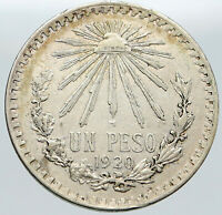 1920 MEXICO Eagle Liberty Cap Large Vintage OLD Silver Peso Mexican Coin i87581