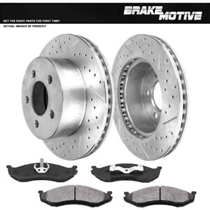 Front Drill & Slot Brake Rotors & Metallic Pads For Jeep Cherokee XJ Wrangler