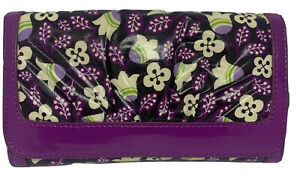 Vera Bradley PLUM PETALS Vinyl FRILL Wallet Purple Black Magnetic Close Clutch