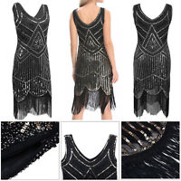 Retro 1920s Flapper Sequin Beaded Gatsby Charleston Costume Womens Party Dress