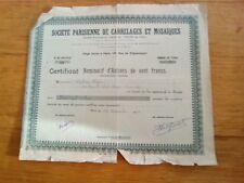 ACTION de 100 frcs(1956) Société Parisienne de carrelages et mosaïques