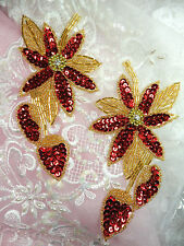 XR51 Appliques Red Sequin Floral Mirror Pair Gold Beaded Flower Patch diy 6""