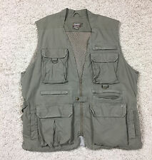 Distressed Vtg CABELA'S SAFARI SERIES Lined Fishing Vest Men's XL Khaki Brown