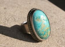STUNNING Handmade Turquoise stone carved HAND MADE STERLING SILVER gift