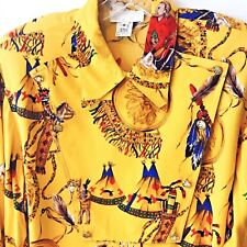 VTG. RAYON INDIAN NATIVE AMERICAN GENERAL CUSTER GRAPHIC WESTERN BIB FRONT SHIRT