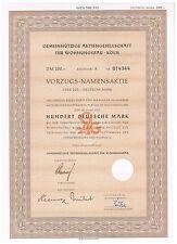 Gemeinnützige AG für Wohnungsbau Köln Vorzugsaktie 100 DM aus 1955