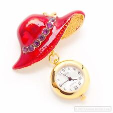 RED HAT PIN BROACH & GOLD WATCH PENDANT VIOLET STONES NEW BATTERY INSTALLED NEW