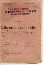 REGIO ESERCITO ITALIANO LIBRETTO PERSONALE 1922 Scuola Artiglieria Contro Aerei