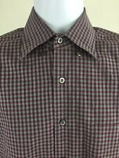 CANALI 1934 Burgundy & Blue Plaid Oxford Made in Italy Button Front - Size L EUC
