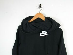 Nike Women Casual Black Solid Chest Logo Hoodie Hooded Sweatshirt Funnel Neck M