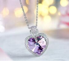 Lujo Collar de Corazón Colgante con Swarovski Cristales Púrpura 18K Oro Blanco