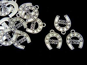 "15 Pcs Tibetan Silver "" Good Luck  Horse Shoe Charms 18mm Jewellery Beading A290"