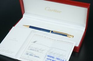 Cartier Ballpoint pen Trinity Gold plated Blue Lacquer w/Box Rare #C300