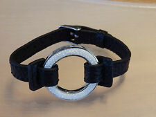 """""""O"""" wave stainless steel pendant bracelet black synthetic leather"""