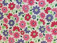 """Fabric Piece 34"""" x 42"""" Brite Lites floral pInk blue green white Sewing Quilting"""