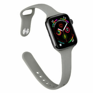 Watch Bands For Apple Watch SE 6 5 432 Thin Slim Replacement Soft Silicone Strap