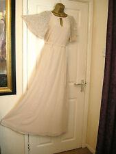 10 ASOS NUDE CHIFFON EMBELLISHED MAXI DRESS WEDDING 20'S 30S PROM VINTAGE GATSBY