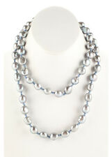 """DESIGNER Blue Baroque Pearl Beaded Knotted String Strand Necklace 36"""""""