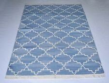 Handmade Geometric Blue Color Cotton Rug 4x6 Feet Area Reversible Rug DN-1523